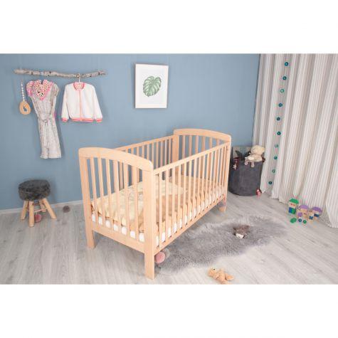 Babybett aus Buche inklusive Matratze höhenverstellbar 140x70 natur Farbe