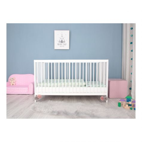 Babybett mit Matratze Kinderbett 140x70 Buche Weiß Umbaubar entnehmbare Stangen