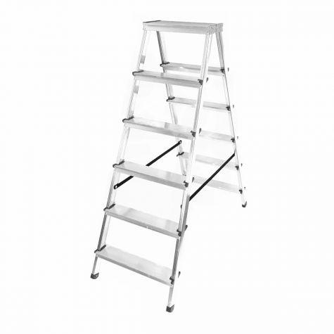 Stehleiter Klappleiter Aluleiter Bockleiter Mehrzweckleiter 2 bis 6 Stufen 125kg 2x6 Stufen